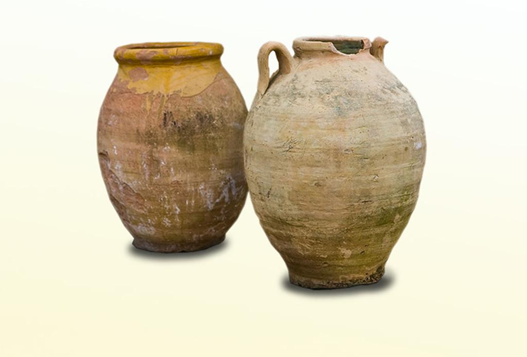 Antike Terrakotta-Vasen - Olivenholz - Galeriebild