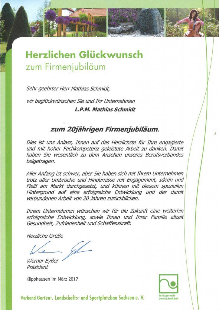 Glückwünsche erreichten uns auch vom Verband Garten-, Landschafts- und Sportplatzbau Sachsen e.V.
